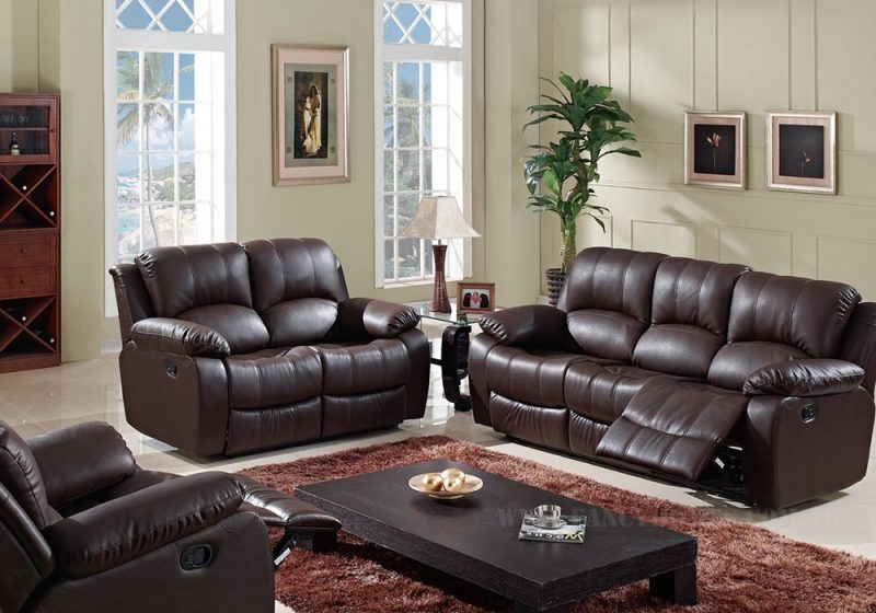 Fancy Homes Kelly recliner leather sofa in brown leather upgradable to electrical recliners