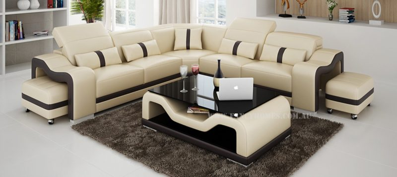 Fancy Homes Kori-B corner leather sofa in beige and brown leather featuring movable ottomans and easy-adjust headrests