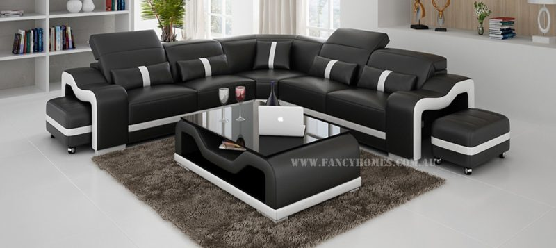 Fancy Homes Kori-B corner leather sofa in black and white colour combinations with adjustable headrests and movable ottomans