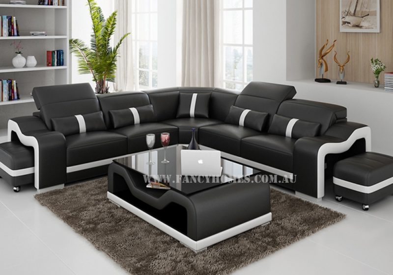 Fancy Homes Kori-B corner leather sofa in black and white leather