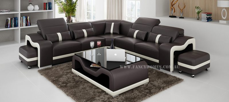 Fancy Homes Kori-B corner leather sofa in brown and white