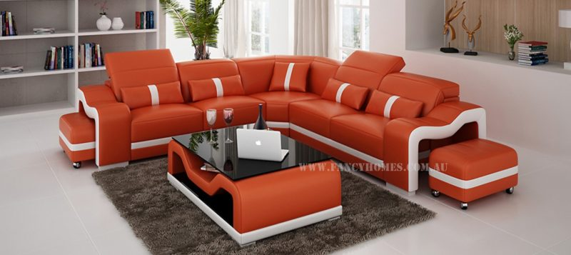 Fancy Homes Kori-B corner leather sofa in orange and white leather with movable ottomans and adjustable headrests