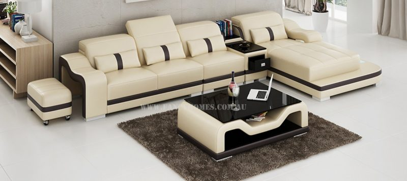 Fancy Homes Kori-C chaise leather sofa in beige and brown with movable ottoman, LED lighting system and middle table