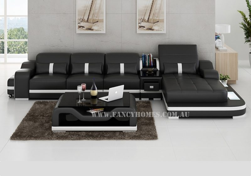 Fancy Homes Kori-C chaise leather sofa in black and white colour combinations
