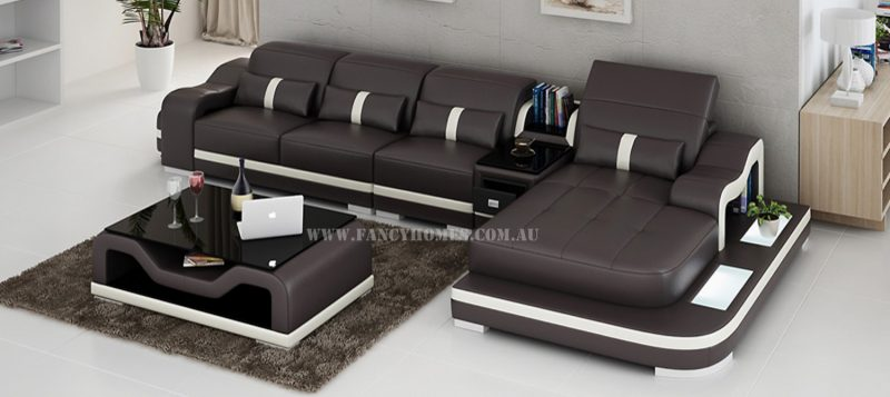 Fancy Homes Kori-C chaise leather sofa in brown and white leather featuring LED lighting systems, middle table and movable ottoman