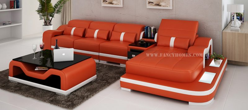 Fancy Homes Kori-C chaise leather sofa in orange and white leather featuring middle table, ottoman and LED lighting systems