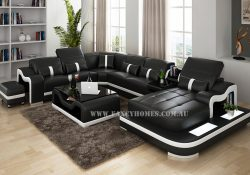 Kori black leather modular lounge