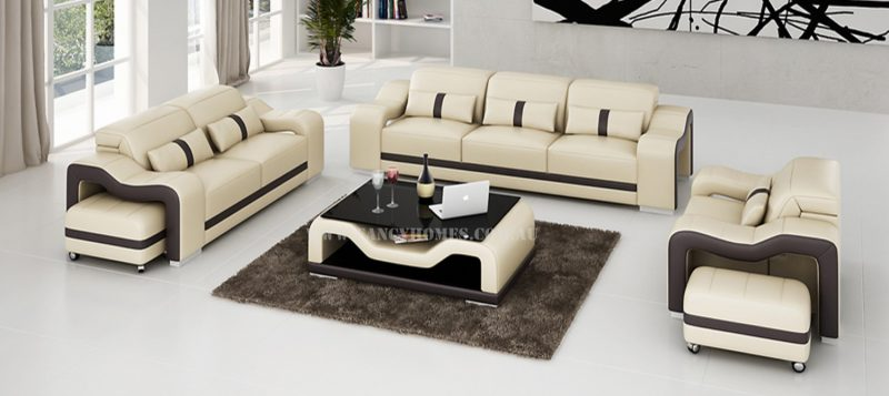 Fancy Homes Kori-D lounge suites leather sofa in beige and brown leather featuring adjustable headrests and movable ottomans
