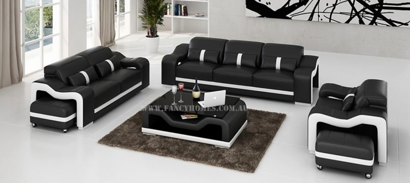 Fancy Homes Kori-D lounges suites leather sofa in black and white with easy-adjust headrests and ottomans