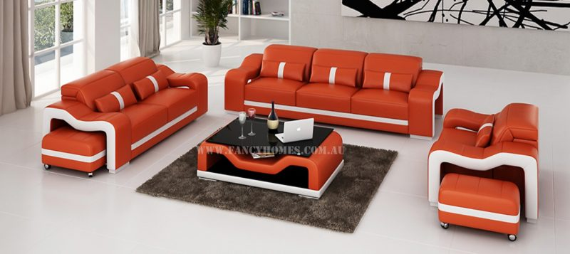 Fancy Homes Kori-D lounges suites leather sofa in orange and white leather with easy-adjust headrests and movable ottomans