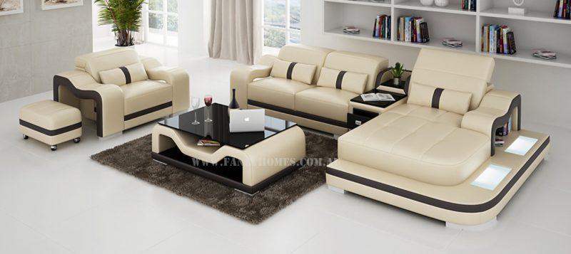 Fancy Homes Kori-E chaise leather sofa in beige and brown with movable ottoman, single seater, adjustable headrests and LED lighting system