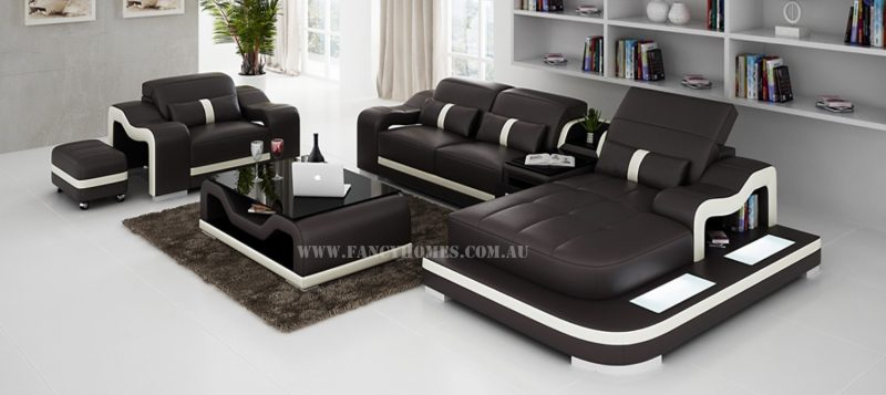 Fancy Homes Kori-E chaise leather sofa in brown and white leather with a single seater, ottoman, easy-adjust headrests and LED lighting system.