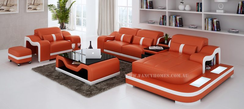 Fancy Homes Kori-E chaise leather sofa in orange and white leather with ottomans, storage middle table and LED lighting system.
