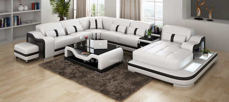 Fancy Homes Kori modular leather sofa in white and black leather featuring LED lighting system, middle table with draw unit and movable ottoman