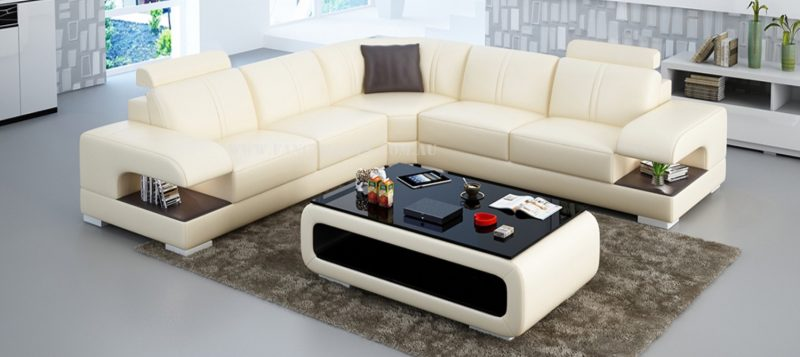 Fancy Homes Levita-B corner leather sofa in beige and brown leather