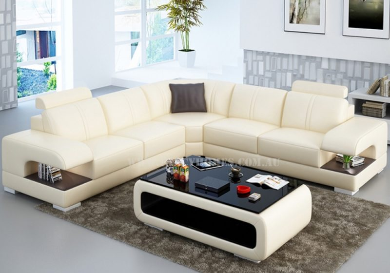 Fancy Homes Levita-B corner leather sofa in beige and brown leather featuring storage armrests and adjustable headrests