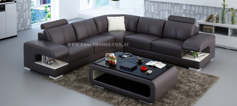 Fancy Homes Levita-B corner leather sofa in brown and white leather