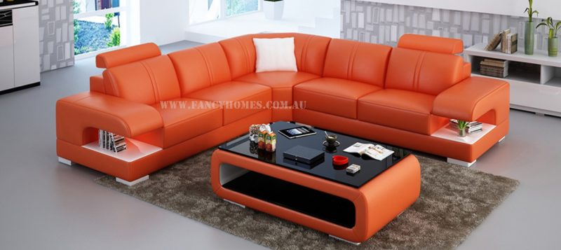 Fancy Homes Levita-B corner leather sofa in orange and white leather