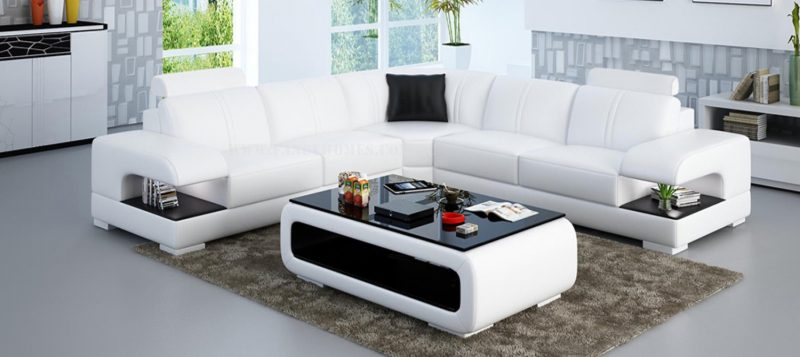 Fancy Homes Levita-B corner leather sofa in white and black leather