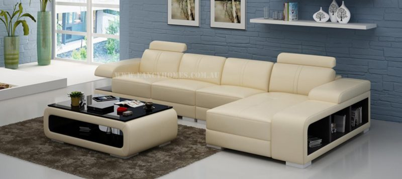 Fancy Homes Levita-C chaise leather sofa in beige and brown leather