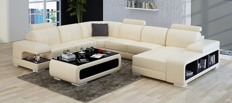 Fancy Homes Levita modular leather sofa in beige and brown leather