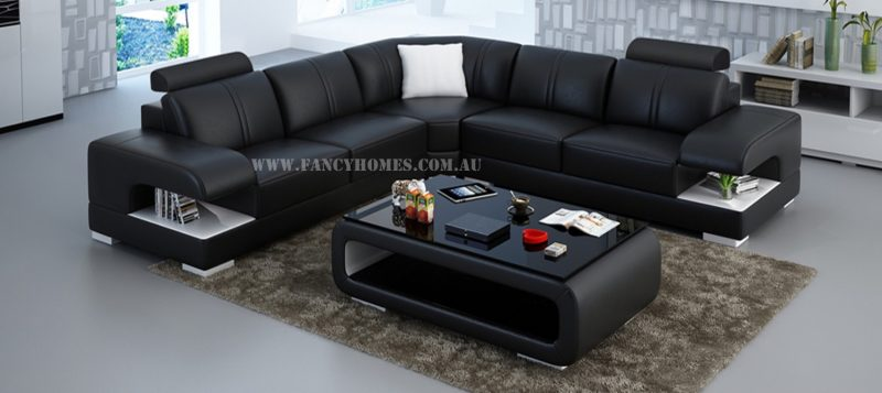 Fancy Homes Levita-B corner leather sofa in black and white leather