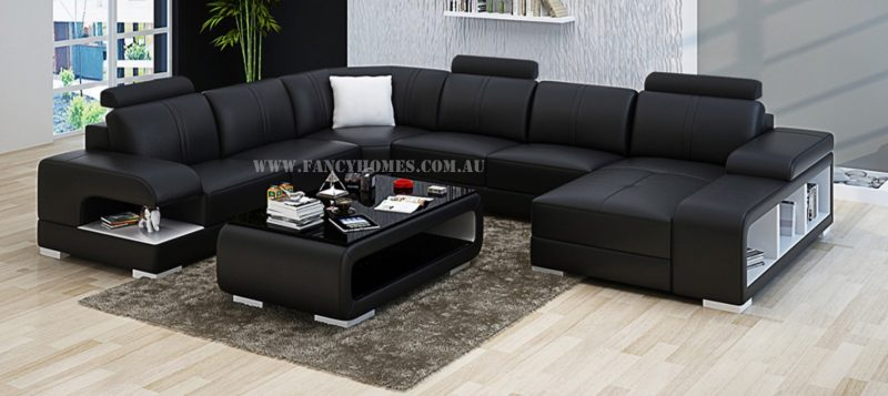 Fancy Homes Levita modular leather sofa in black and white leather
