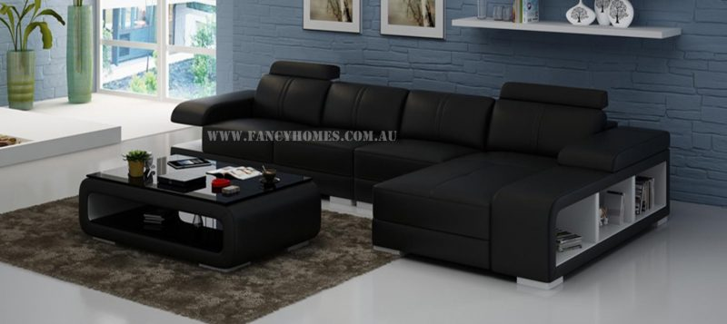 Fancy Homes Levita-C chaise leather sofa in black and white leather