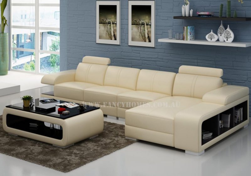 Fancy Homes Levita-C chaise leather sofa in beige and brown leather featured with storage armrests and adjustable headrests