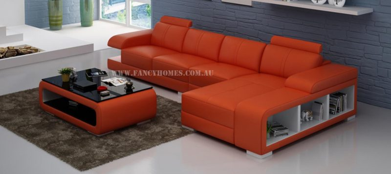 Fancy Homes Levita-C chaise leather sofa in orange and white leather