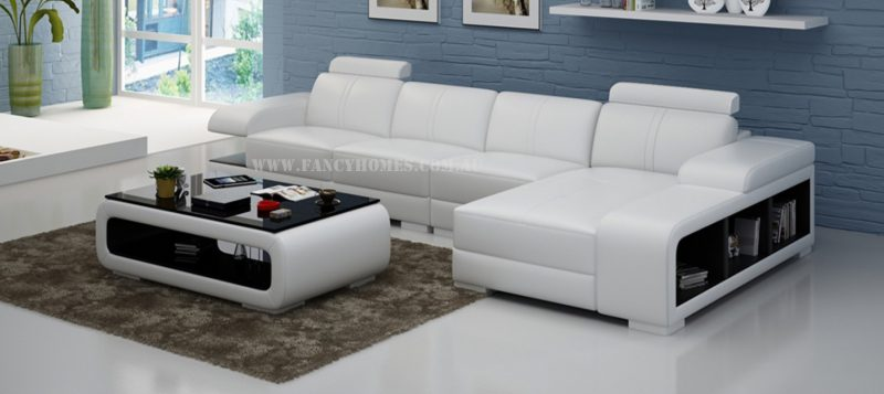 Fancy Homes Levita-C chaise leather sofa in white and black leather