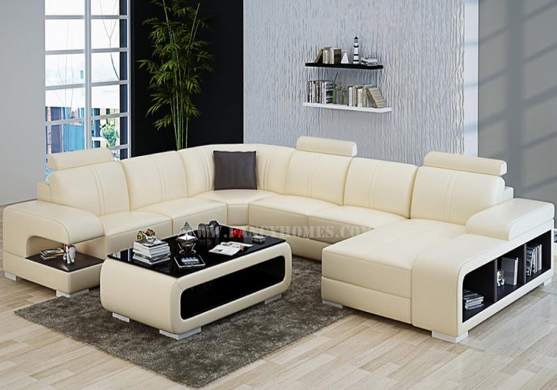Fancy Homes Levita Modular leather sofa in beige and brown leather with adjustable headrests and storage armrests