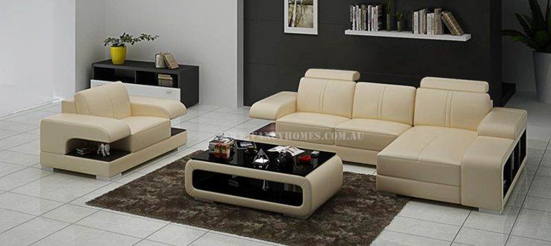 Fancy Homes Levita-E chaise leather sofa with a single armchair in beige and brown leather