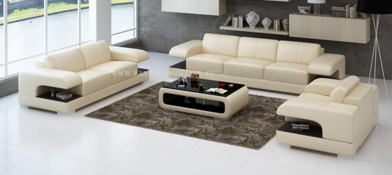 Fancy Homes Levita-D lounges suites leather sofa in beige and brown leather