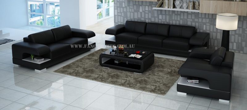Fancy Homes Levita-D lounges suites leather sofa in black and white leather