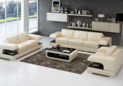 Fancy Homes Levita-D lounges suites leather sofa in beige and brown leather featuring extra-wide storage armrests