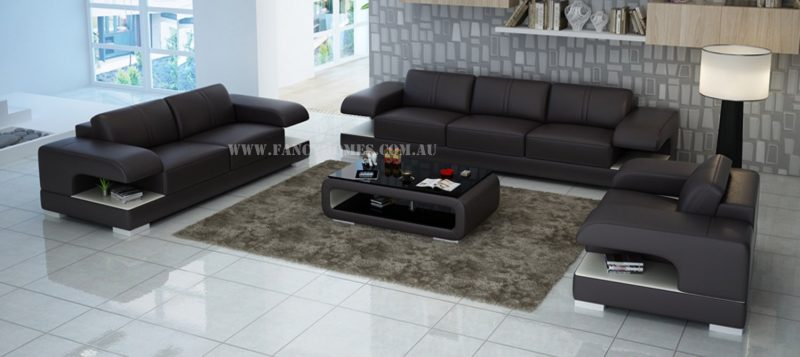 Fancy Homes Levita-D lounges suites leather sofa in brown and white leather