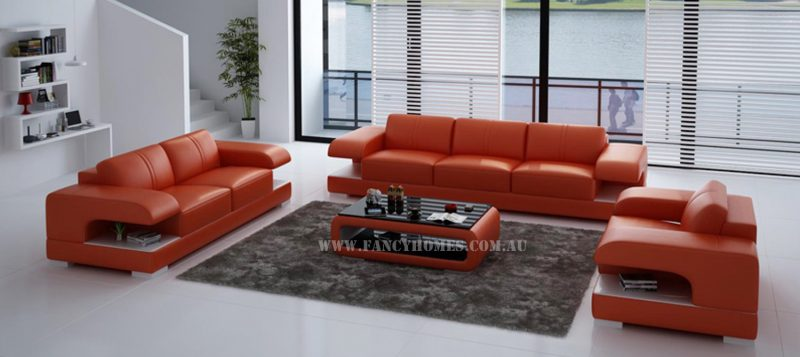 Fancy Homes Levita-D lounges suites leather sofa in orange and white leather