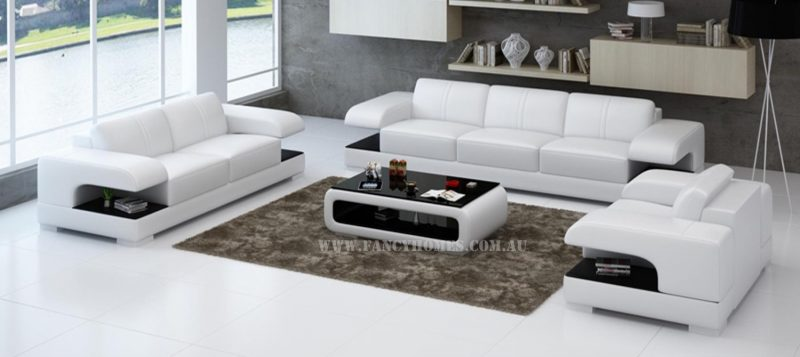 Fancy Homes Levita-D lounges suites leather sofa in white and black leather