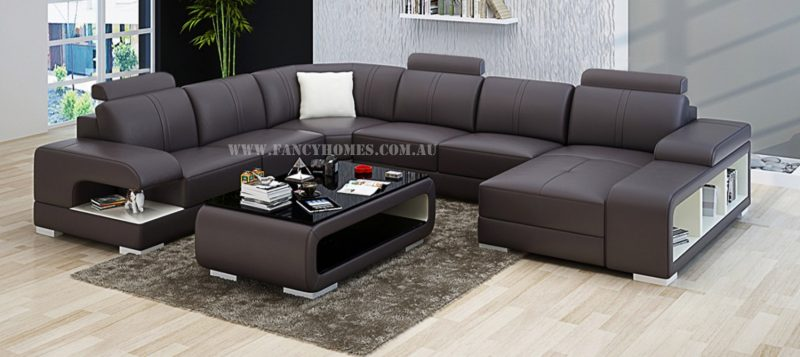 Fancy Homes Levita modular leather sofa in brown and white leather