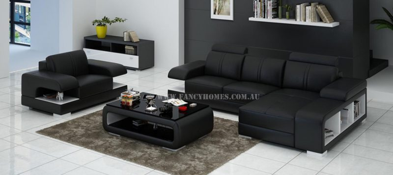 Fancy Homes Levita-E chaise leather sofa with a single armchair in black and white leather
