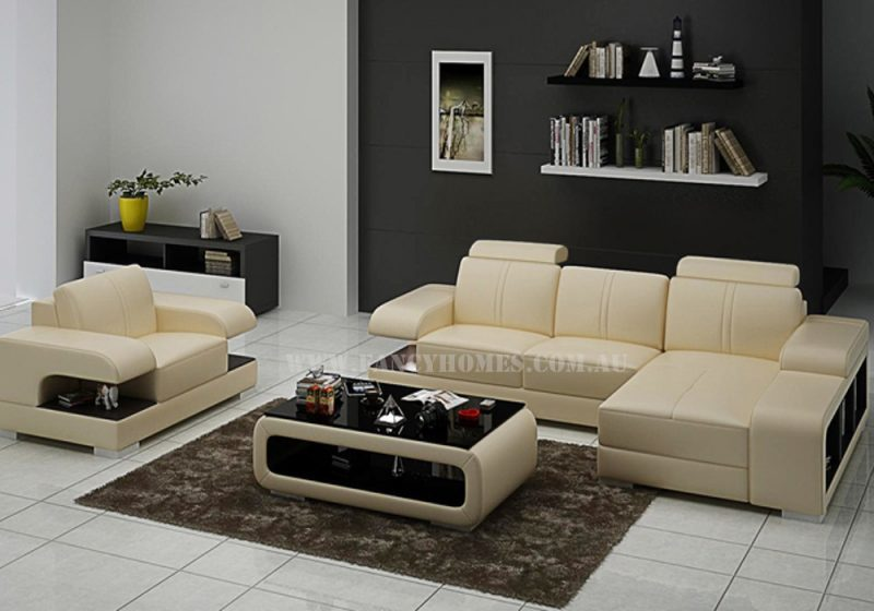 Fancy Homes Levita-E chaise leather sofa with a single armchair in beige and brown leather featuring adjustable headrests and extra-wide storage armrests