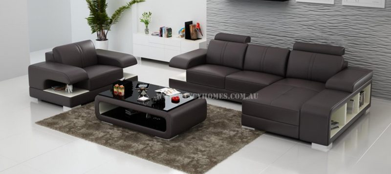 Fancy Homes Levita-E chaise leather sofa with a single armchair in brown and white leather
