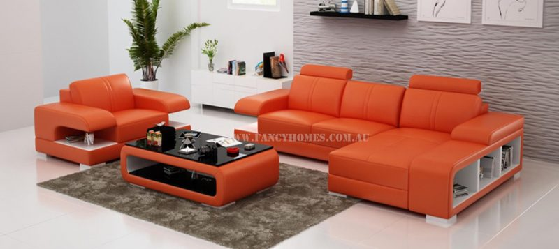 Fancy Homes Levita-E chaise leather sofa with a single seater in orange and white leather