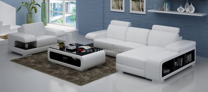 Fancy Homes Levita-E chaise leather sofa with a single armchair in white and black leather