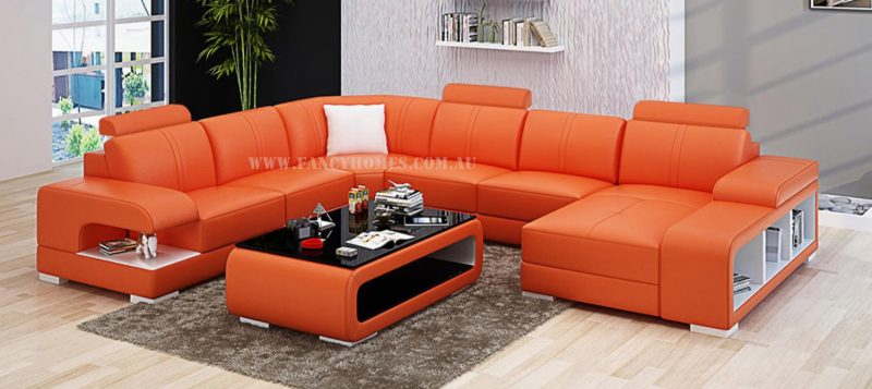 Fancy Homes Levita modular leather sofa in orange and white leather