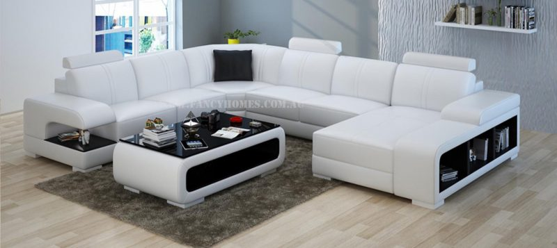 Fancy Homes Levita modular leather sofa in white and black leather