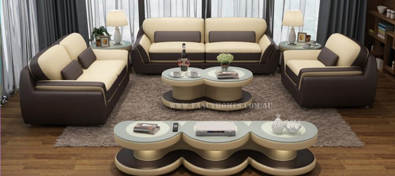 Fancy Homes Marco lounges suites leather sofa in beige and brown leather