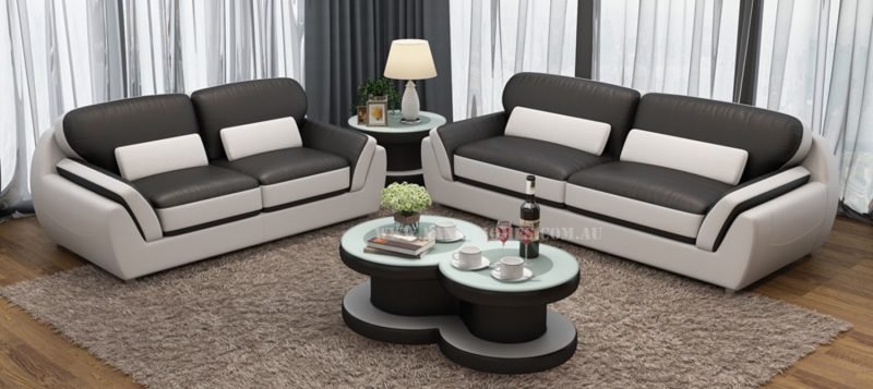 3 seater and 2 seater of Fancy Homes Marco lounges suites leather sofa in black and white
