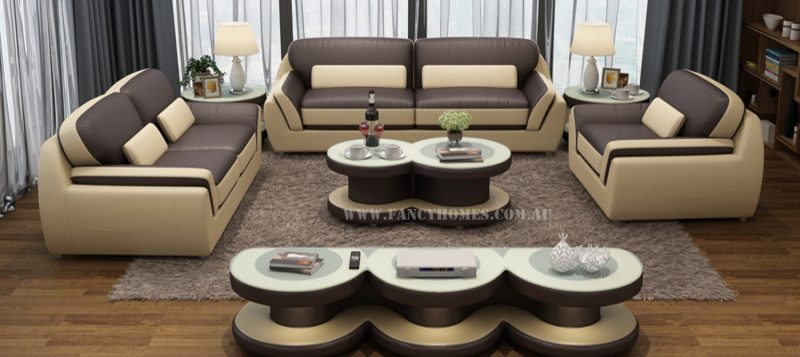 Fancy Homes Marco lounges suites leather sofa in brown and beige leather